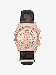 Vail Rose Gold-Tone and Embossed-Leather Watch by Michael Kors