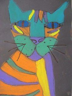 My example on tan paper I like the impact of the pastel on black    My 4th-6th graders created these graphic cats with gel glue on b...