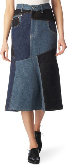 patchwork denim skirt | Junya Watanabe Patchwork Denim Skirt in Blue (indigo) - Lyst. Intriguing concept... not sure if I could wear it without losing my mind, but hey. xD