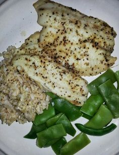 Lemon Pepper Tilapia with brown rice and string beans.