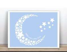 Moon and Stars Baby shower guest book Nursering Art by ByYolanda