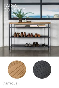 Meshed-metal shelves on the Taiga console make storing shoes an exercise in style.