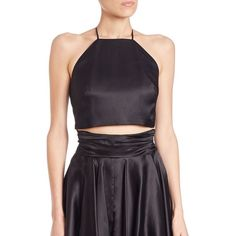 MILLY Audrey Silk Organza Cropped Top ($235) ❤ liked on Polyvore featuring tops, apparel & accessories, black, sleeveless tops, black top, halter neck crop top, halter top and black sleeveless top