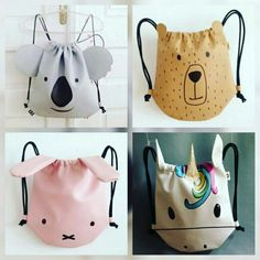 Ovivia backpack #parea #ovivia Sewing For Kids, Baby Sewing, Sewing Tutorials, Sewing Projects, Bag Tutorials, Diy Sac, Animal Bag, Patchwork Bags, Japanese Patchwork