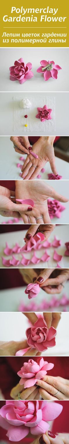How to make gardenia flower with polymer clay. Polymer clay tutorial, flower hair clip, DYI