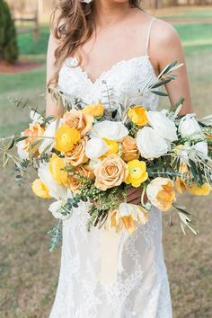 Yellow and green galore! We have officially leaped into sweater weather season with this lovely wedding inspiration from the husband and w. Pale Yellow Weddings, Yellow Wedding Colors, Orange Wedding, Color Yellow, Spring Wedding, Dream Wedding, Wedding Themes For Spring, Wedding Knot, Wedding Bride