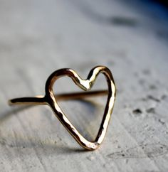 Gold Fill Heart Ring from Rachel Pfeffer Designs- seriously! I would wear this over my wedding band tattoo instead of the band and engagement ring! Cute Jewelry, Jewelry Rings, Jewelry Box, Jewelry Accessories, Fashion Accessories, Jewelry Making, Jewlery, Dainty Jewelry, Look Boho