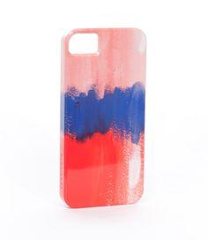 brika cobalt & red watercolor iphone case by pencil shavings studio.
