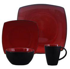 Gibson Soho Lounge Red 16-Piece Dinnerware Set