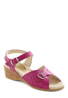 modcloth view of the sea sandals in fuchsia