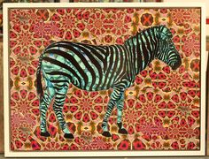 Blue Zebra by TrxtrMixed media, collage and acrylic on canvas.Hand finished individually unique edition of ten48 x 36 inches.Framed in white sustainable hard woodNow available on interest free credit throughthe OWN ART scheme contact the info@redpropellergallery.co.ukfor details.