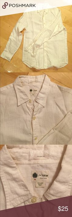 J. Crew long sleeve button down linen shirt J. Crew long sleeve button down linen shirt. Size is Medium, tailored fit. Color is white--the stripes that seem to be evident on the pictures are Orr of the design and are just white threads sewn into a striped pattern. It's in great condition, no tears or stains. 100% linen. Perfect for the summer heat. Selling because I have way too many shirts and need to downsize my closet. J. Crew Shirts Casual Button Down Shirts