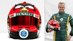 Heikki Kovalainen's Angry Birds Themed F1 Helmet. http://www.f1deals.com/category/blog/page/3