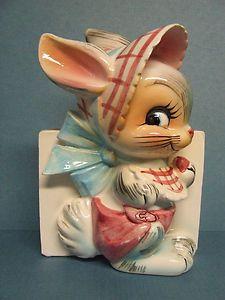 HTF/Vintage Lefton Bunny Rabbit w/Bonnet,Bib & Diaper Wall Pocket (ESD, Japan)