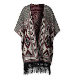 Damen Cardigan im Poncho-Stil mit Fransen in schwarz / grau - Mode günstig online kaufen - C&A     Poncho mit Aztekenmuster, ca. 80 cm Rückenlänge, gehäkelter Fransenbesatz am Saum, Material: 71 % Polyacryl 29 % Baumwolle