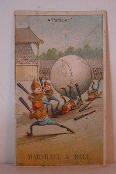 Palmer Cox Brownies Victorian Trade Card - Baseball !