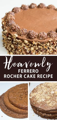 Heavenly Ferrero Rocher cake a delicious cake based off a candy. Chocolatey velvety sweet treat the perfect dessert. Heavenly Ferrero Rocher cake a delicious cake based off a candy. Chocolatey velvety sweet treat the perfect dessert. Easy No Bake Desserts, Delicious Desserts, Yummy Food, Cupcake Recipes, Baking Recipes, Dessert Recipes, Cupcakes, Cupcake Cakes, Strawberry Desserts