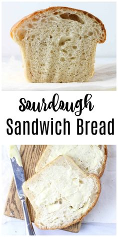 The BEST Homemade Sourdough Sandwich Bread Recipe! This soft sourdough bread recipe is so easy to make. It's a no knead bread that you can let rise overnight. Soft Sourdough bread recipe from starter. I use King Arthur Bread flour for best texture! Sourdough Sandwich Bread Recipe, Soft Sourdough Bread, Tasty Bread Recipe, Sandwich Bread Recipes, Sourdough Recipes, Knead Bread Recipe, No Knead Bread, Gluten Free Banana Bread, Healthy Banana Bread