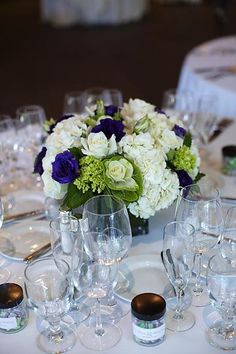 Blue And Green Wedding Bouquets | White, Purple, and Green Low Centerpieces « Weddingbee Gallery