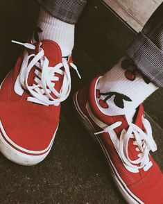 dcf8dd76d7b501 Cherry red vans shared by Beatriz Pizarro on We Heart It