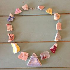 Beach Shack Project - wire wrapped sea pottery and sea glass necklace