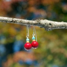 Crimson Red Coral Dangles with Teal Russian by KatiesBasement, $16.00