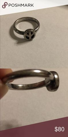 Retired hard to find James Avery peace ring Sterling. Normal wear. Size 7. Hard to find-  none listed in eBay James Avery Jewelry Rings