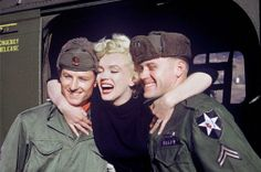 Pete Wingrove of Tigard, Oregon, explained: This color photo shows Marilyn Monroe in Korea, February 1954. She was touring with a USO show, and the 13th Helicopter Transportation Company was selected to shuttle her between bases.