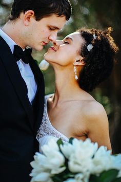 Interracial couple on their wedding day #love #wmbw #bwwm