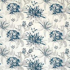 Gastón y Daniela A Blue white and grey botanical print. Very fresh and clean.