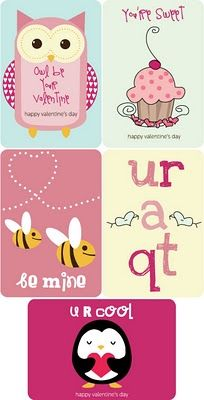 Free printable Valentine's Day set: party invitations, labels, favor tags, valentine cards, drink flags, food tents, a banner, and more