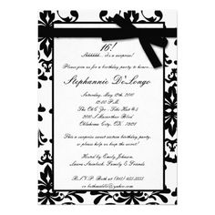 5x7 Black White Damas Sweet 16 Birthday Invitation