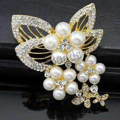 Glass Pearl Brooch, Zinc Alloy, with Glass Pearl, Butterfly, plated, with rhinestone, mixed colors, nickel, lead & cadmium free, 78mm, 10PCs/Bag,china wholesale jewelry beads