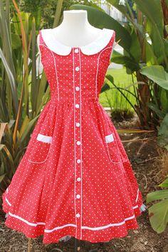 Hell Bunny ALAIA Red Polka Dot Dress Sizes s L XL   eBay