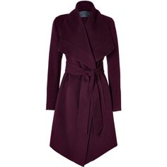 Cashmere Belted Coat in Claret by Donna Karan
