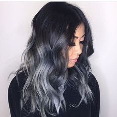 #greyhair #ombrehair #silverombre Beauty: Fantasy Unicorn Purple Violet Red Cherry Pink Bright Hair Colour Color Coloured Colored Fire Style curls haircut lilac lavender short long mermaid blue green teal orange hippy boho ombré woman lady pretty selfie style fade makeup grey white silver Pulp Riot