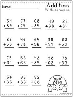 2 Digit Addition With Regrouping Worksheets-Distance Learning Packet Addition With Regrouping Worksheets, Addition Worksheets First Grade, 3rd Grade Math Worksheets, 2nd Grade Math, Worksheets For Kids, Homeschool Worksheets, Homeschooling, Touch Math, Math Sheets