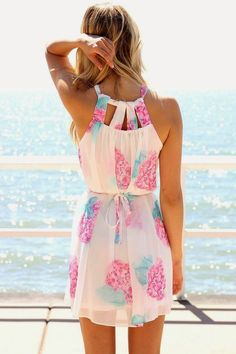 Rose Floral Summer Dress. Beach & Casual Style.