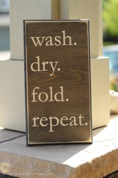 Wash Dry Fold Repeat Laundry Room Saying by thestickerhut on Etsy, $22.50