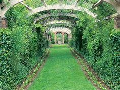 Generously proportioned arbor spanning aged-brick piers supports cooling vines on estate in Talbot County, Maryland.