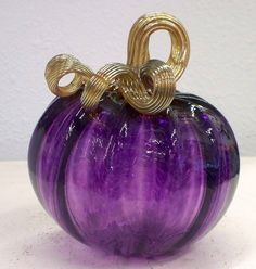purple glass pumpkin