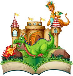 Buy Dragon and Book by interactimages on GraphicRiver. Illustration of a popup book with dragon and castle School Murals, Kindergarten Crafts, Background Templates, Children's Book Illustration, Disney Cartoons, Bowser, Book Art, Fairy Tales, Branding Design