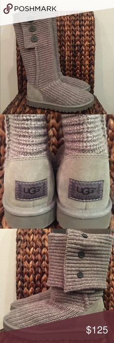 """UGG Gray Cardy Boots DETAILS Model: 1016555 The Classic Cardy fuses the coziness of your favorite sweater with the UGG® comfort you love, and its functional buttons let you wear it three ways: all the way up, unbuttoned and cuffed, or slouched down. Now equipped with our Treadlite by UGG™ sole, this favorite boot provides more cushioning, traction, and durability.  DETAILS:  Knit (50% Wool, 50% Acrylic) Suede heel Wood buttons UGGpure™ wool insole Treadlite by UGG™ outsole App. 14 ½"""" shaft…"""
