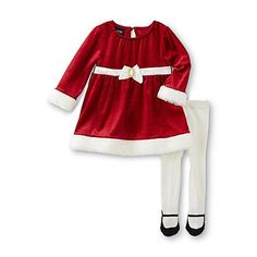 Holiday Editions Christmas Newborn Girl's Dress & Tights