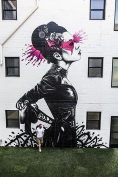 "Fin DAC / ""Nadeshiko"" a new street art mural by Irish artist Fin DAC in Downtown Los Angeles. 3d Street Art, Murals Street Art, Street Art News, Urban Street Art, Amazing Street Art, Art Mural, Street Art Graffiti, Street Artists, Amazing Art"