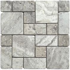 Avenzo Silver Natural Stone Mosaic Indoor/Outdoor Wall Tile (Common... ($9.98) ❤ liked on Polyvore featuring home and outdoors