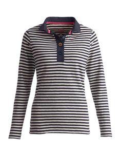 Joules null Womens Jersey Top, Beau Stripe French Navy.                     Collar some sporty style with this jersey top with a difference. The hardwearing slub jersey fabric adds to its ready-for-the-weekend charm.#joules #christmas #wishlist