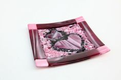 Pink red & purple fused glass heart plate 7x7 by FusionIllusion, $75.00
