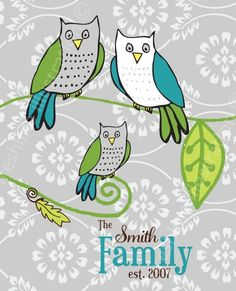 Family Tree Art Print with Owls in Teal, Tan, Grey, Gray, Lime Green and Brown 8x10 Print. $24.95, via Etsy.