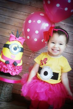 Minions with tutu birthday cake